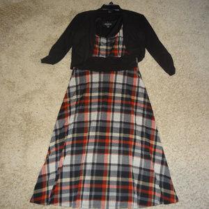 Perceptions Two-Piece Black, Red, White Midi Dress
